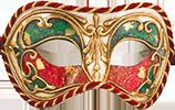 Узорчатая красно-зелёная маска с золотом
